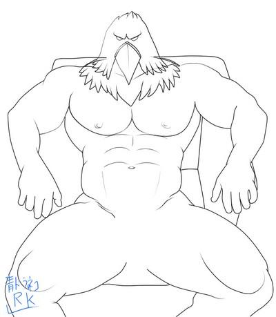 グリフォンマスク全裸座り線画