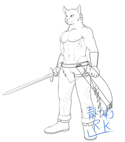 狼獣人剣持ち色なし線画