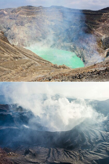 """エメラルドグリーンのきれいな湖: 阿蘇山大噴火の危険な兆候!火口湖の""""エメラルドグリーン"""