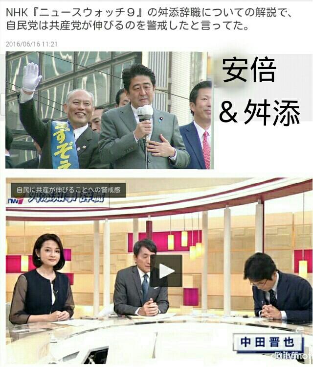 NHK、自民党は共産党が伸びるのを警戒したと言ってた『ニュースウォッチ9』舛添辞職についての解説で