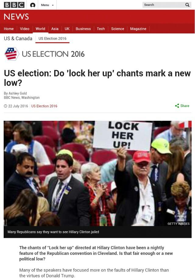 米大統領選…ヒラリーを逮捕、投獄せよ【Lock Her Up!】米国民大合唱!トランプで決まりか!