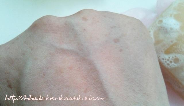 柿渋エキス配合石けん 珠玉の泡 洗った後の肌