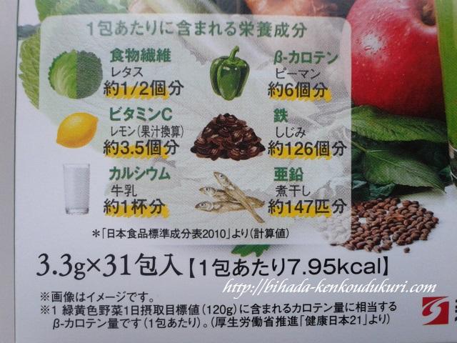 青汁サラダプラス 1包当たりの栄養成分
