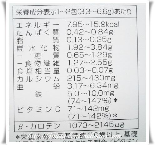 青汁サラダプラス 栄養成分表1