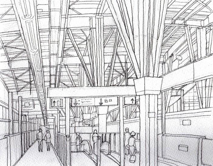 金沢駅のホーム デッサン (700x547)