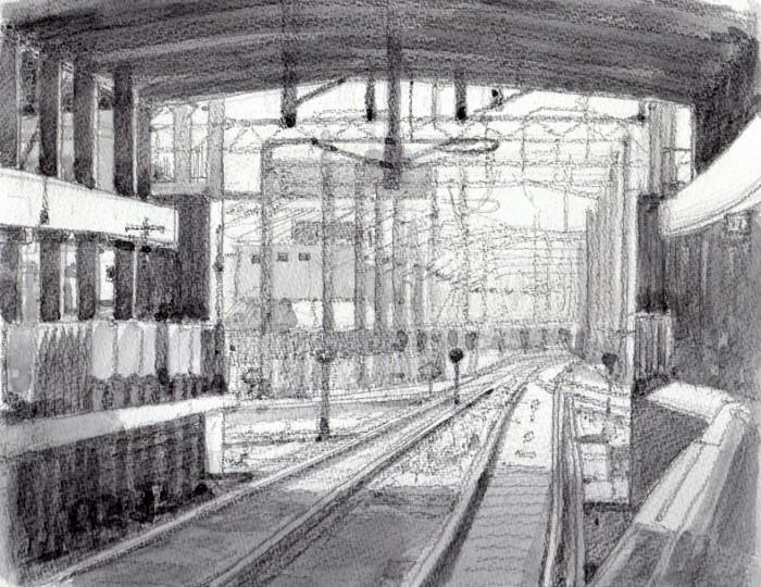 金沢駅の線路 グリザイユ (700x540)