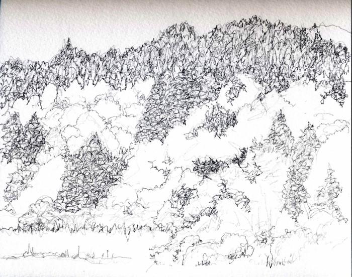 猪名川 春の里山 線画 (700x552)