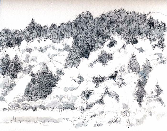 猪名川 春の里山 グリサイユ (700x551)