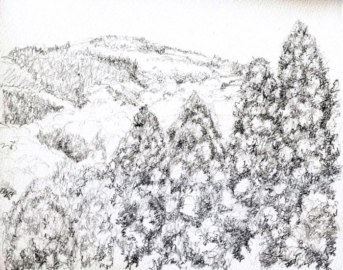 春の山 デッサン (700x552)