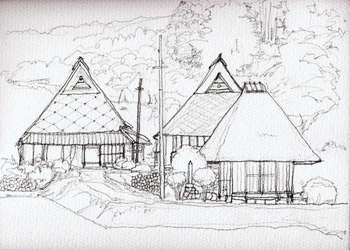 竹井の古民家 デッサン (700x500)