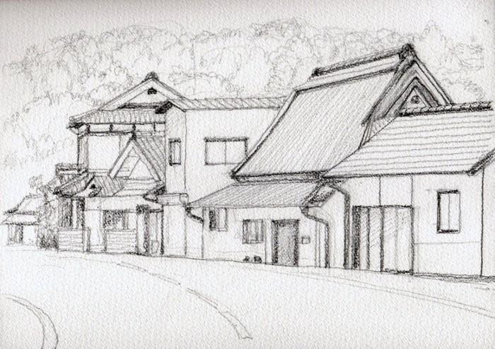 園部市竹井の街並み デッサン (700x494)
