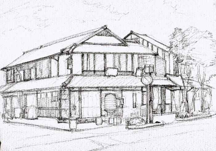 彦根の街角 デッサン (700x489)