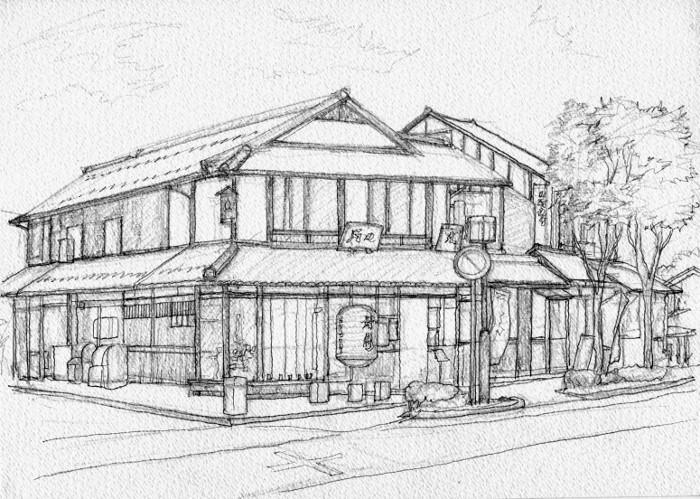 彦根の街角 デッサン2 (700x499)