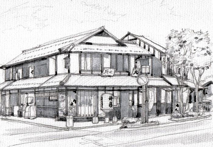 彦根の街角 グリザイユ (700x483)