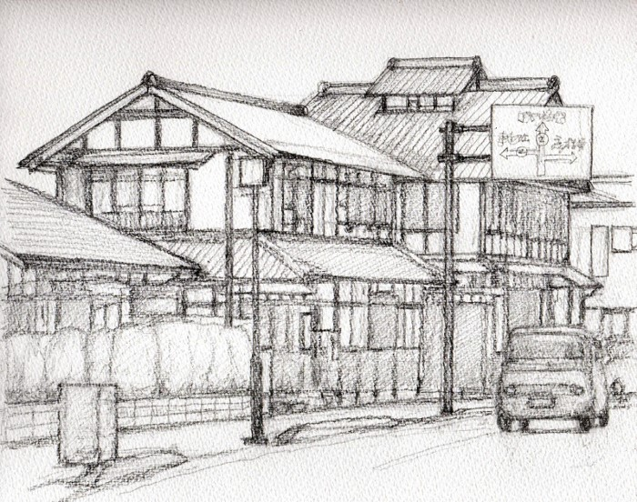 彦根の街角2 デッサン (700x552)