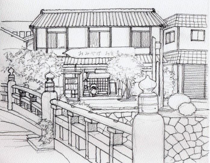 幡掘の土産店 デッサン (700x545)