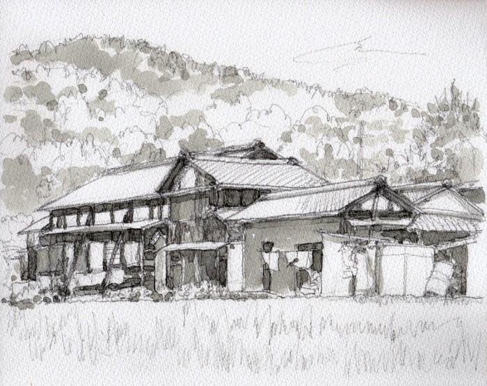 原の民家 グリザイユ (700x555)