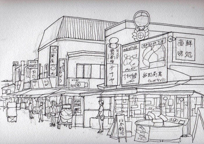 函館市場 デッサン (700x495)