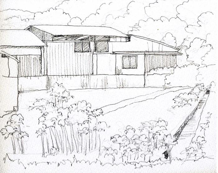 彼岸花の咲く風景 デッサン (700x555)