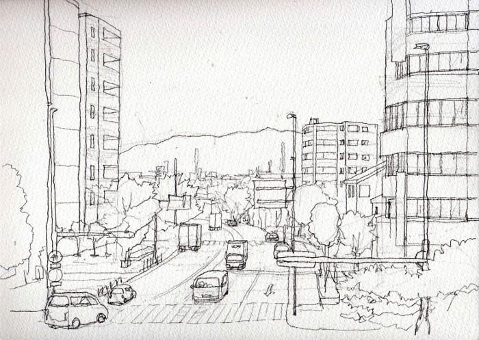 寝屋川のさわやか通り デッサン (700x497)