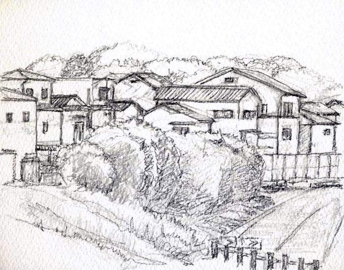 寝屋川太秦の風景 デッサン (700x549)