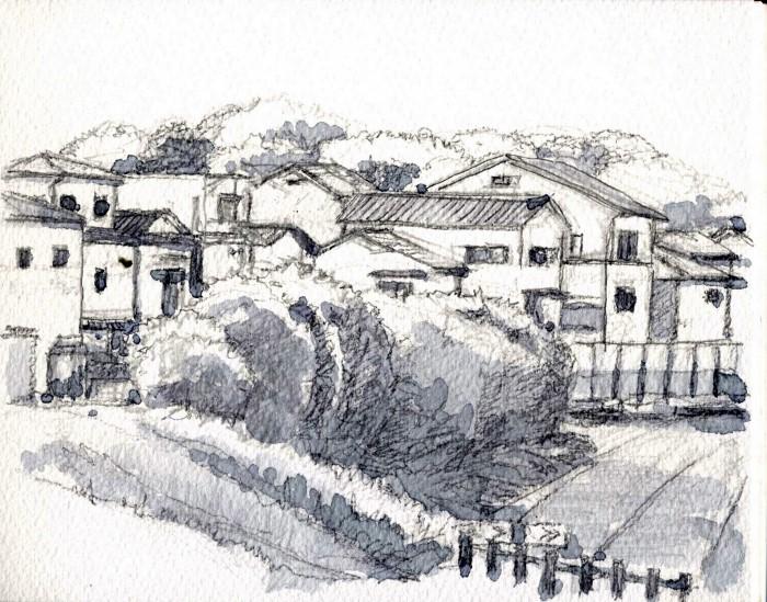 寝屋川太秦の風景 グリザイユ (700x549)