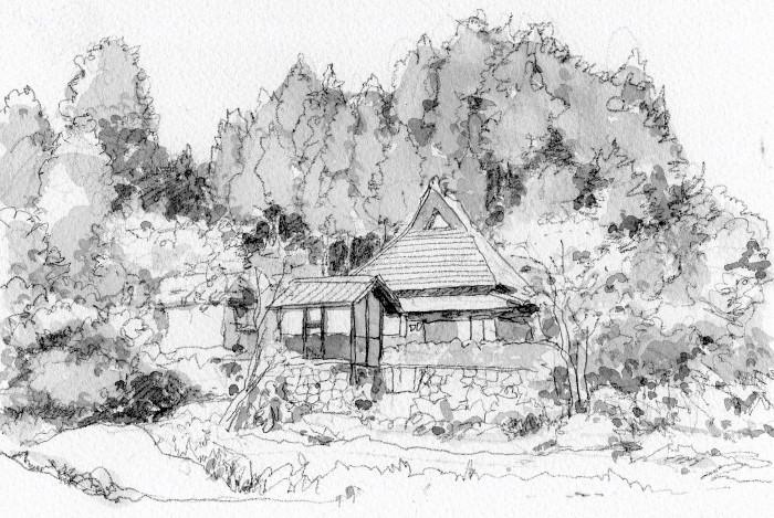 山村の農家 グリザイユ (700x469)