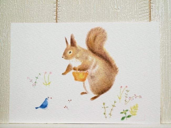 りすと小鳥 ポストカード