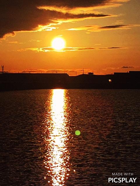 溜池の夕日2