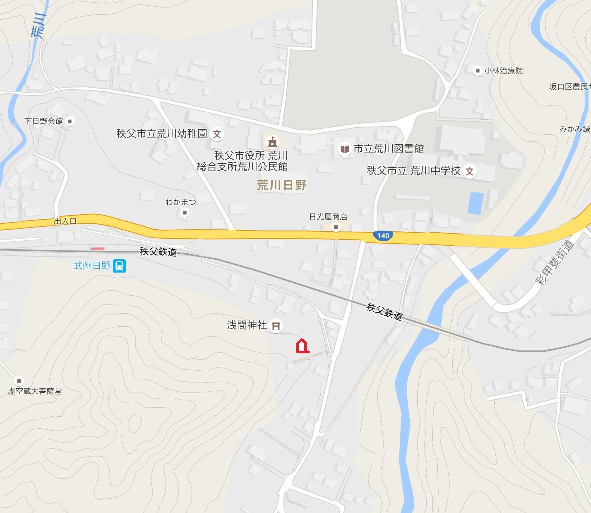 埼玉県荒川村満洲開拓団慰霊碑地図