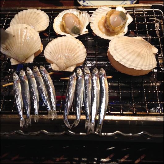 ホタテの稚貝とキビナゴ