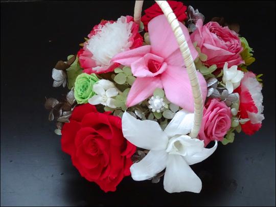 ピンクの花籠 アップ
