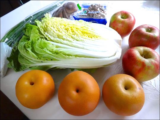 白菜、梨、りんご
