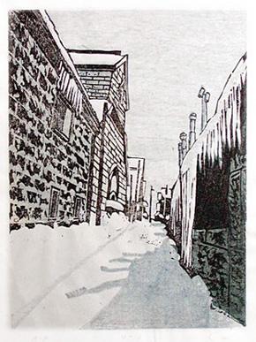 「出抜き横丁(小樽・A)」(木版画)