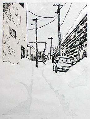 「出抜き横丁(小樽・D)」(木版画)