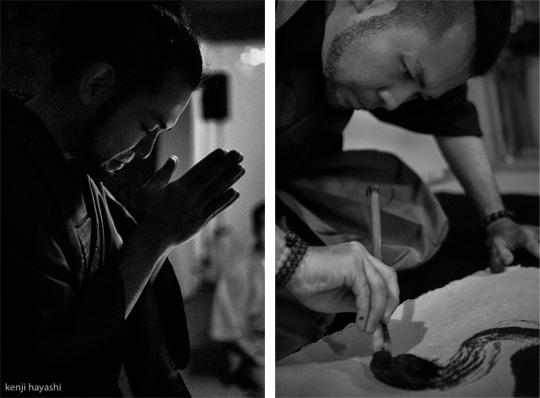 無添加書道:遠藤夕幻 「書く直前の祈り」/写真撮影:林建次
