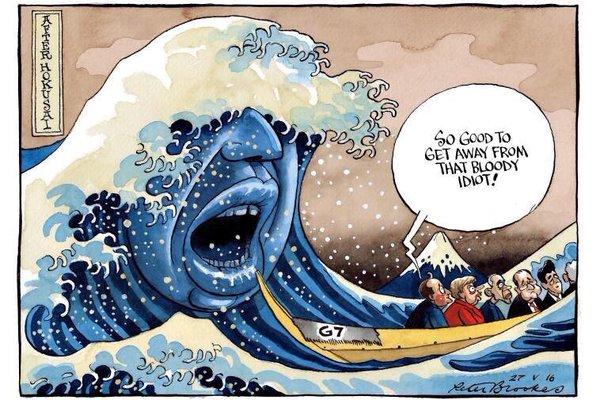 パヨク「伊勢志摩サミットの風刺画で安倍首相がバカにされているwww」→ 一般人「それ、イギリス首相候補を諷刺した作品だけど」→ パヨク、意味不明な捨て台詞を吐きツイート削除し逃亡