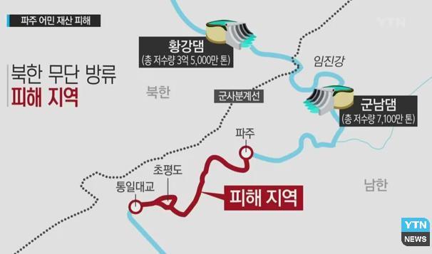 北朝鮮、通報なしにダムの水放流…韓国に被害