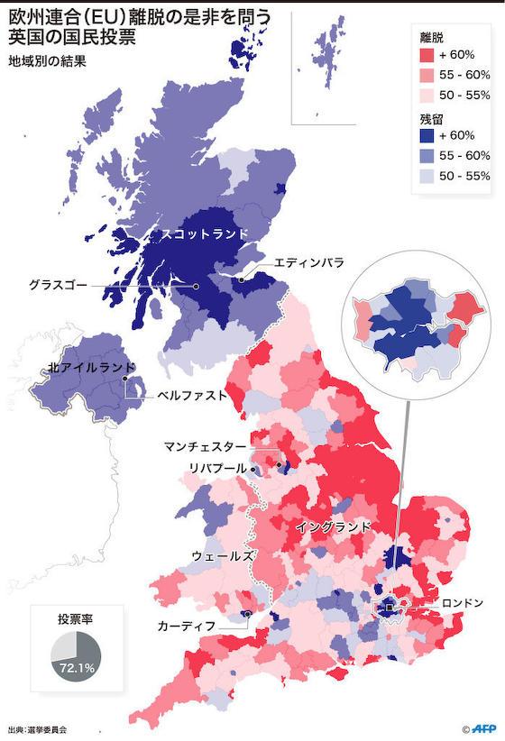 英国の得票地域別の結果