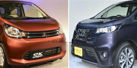 三菱自動車の「eKワゴン」(左)と日産自動車の「DAYZ(デイズ)」