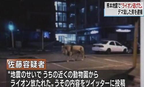 「ライオン逃げた」熊本地震直後にうそツイート 神奈川県に住む会社員、佐藤一輝容疑者(20)を逮捕