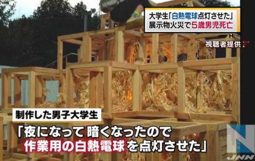 展示物火災で男児死亡、出展者「白熱電球点灯させた」