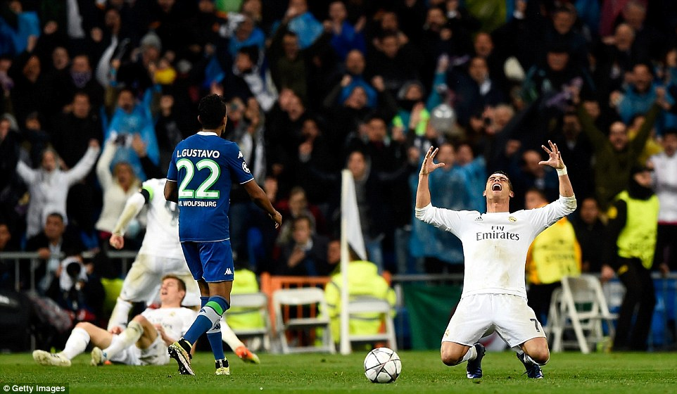 Real Madrid superstar Ronaldo falls to his knees in celebration after single-handily winning the match