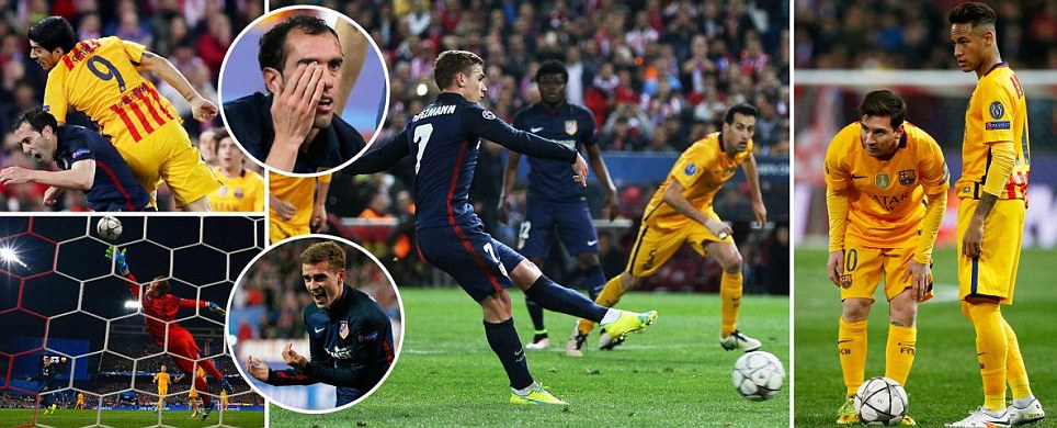 Atletico Madrid 2-0 Barcelona (3-2 agg) Antoine Griezmann double dumps favourites Barca out as Lionel Messi and Co draw a blank