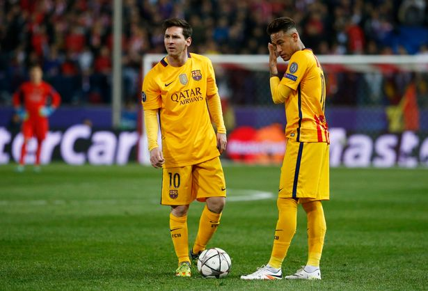 Atletico-Madrid-v-Barcelona Lionel Messi and Neymar after conceding