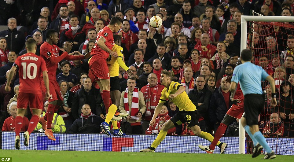 Lovren jumped highest to meet a delivery into the penalty area to head home in the 91st minute at the Kop end at Anfield