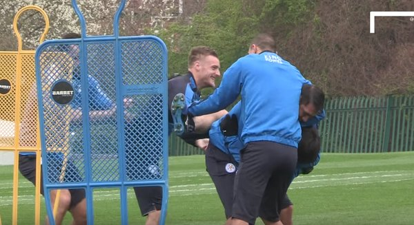 Leicester stars including Jamie Vardy gang up on Shinji Okazaki in training