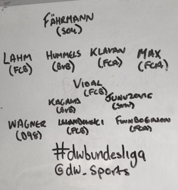 Fährmann Lahm, Hummels, Klavan, Max Vidal, Kagawa, Junuzovic; Wagner, Finnbogason, Lewandowski dwbundesliga