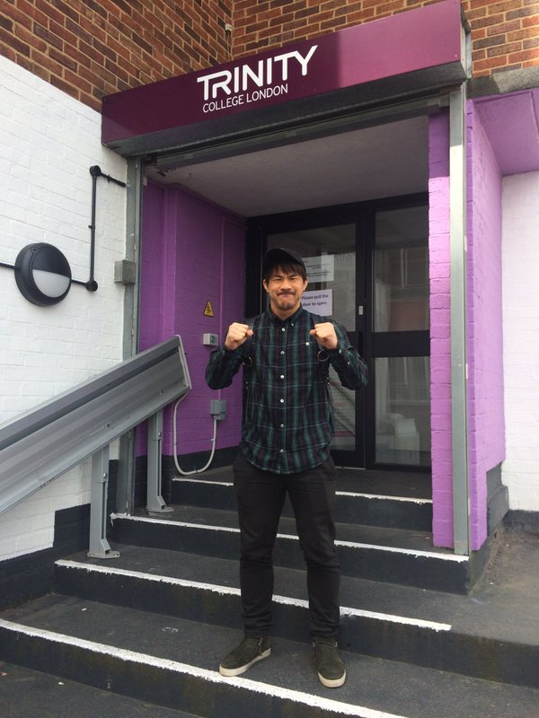 Well done Shinji @okazakiofficial on passing your English exam today