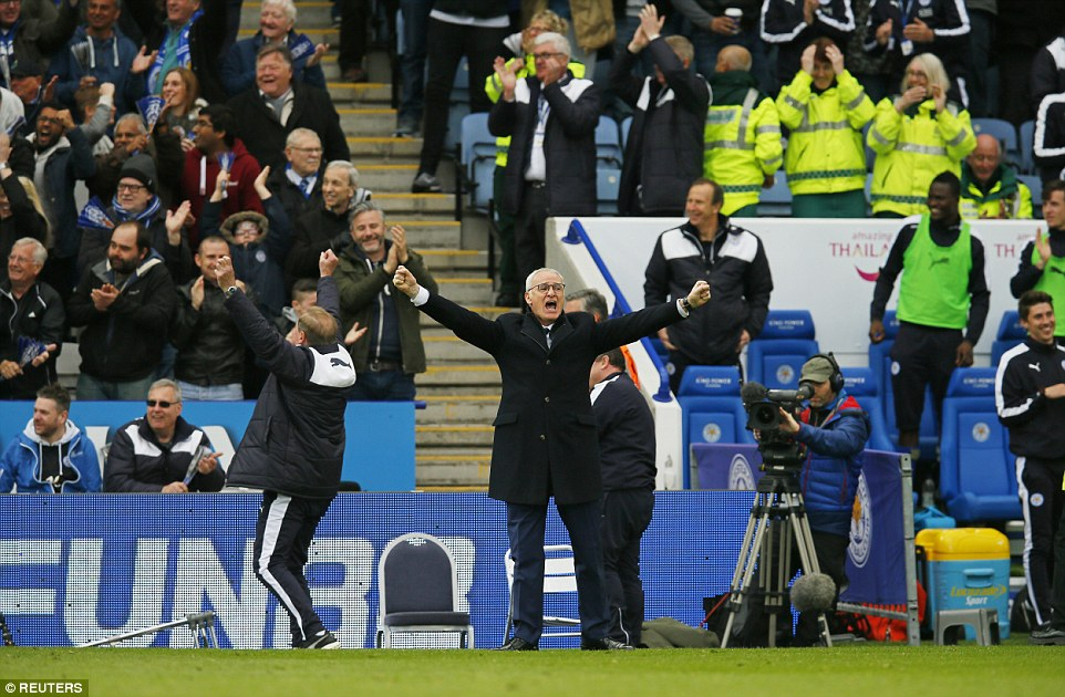 Leicester manager Claudio Ranieri who punched the air with delight at Ulloas second goal to give them a 3-0 lead